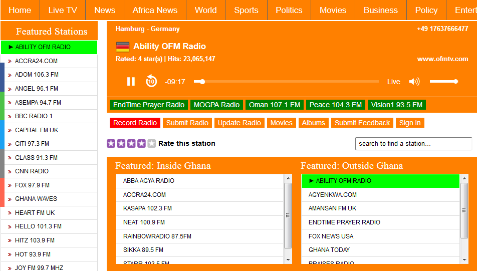 Listen To All Ghana Radio Stations Live and Record In MP3 or AAC Audio File