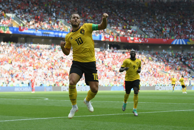 Eden Hazard of Belgium celebrated after scoring one of his two goals on Saturday against Tunisia.