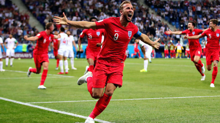 England's Harry Kane celebrates after defeated Colombia 4-3 on penalties