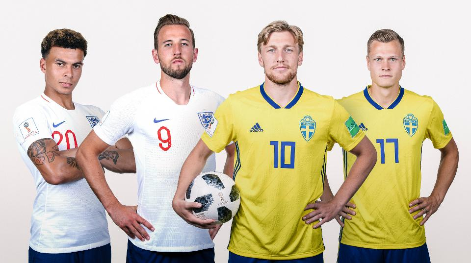 Dele Alli with Harry Kane of England and Emil Forsberg with Viktor Claesson of Sweden.