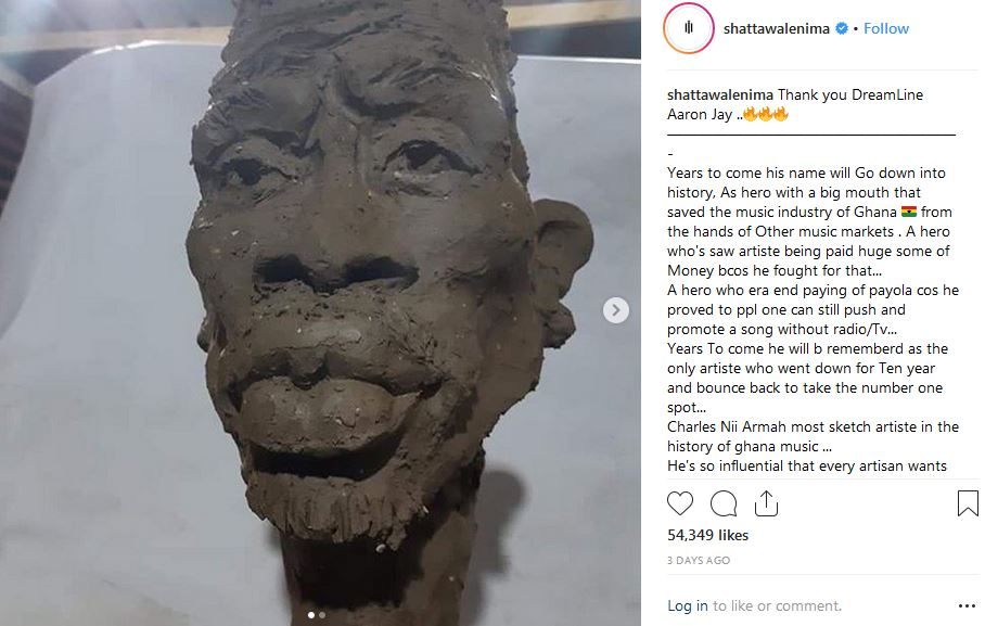 Shatta Wale reacts to his viral 'Handsome' sculpture