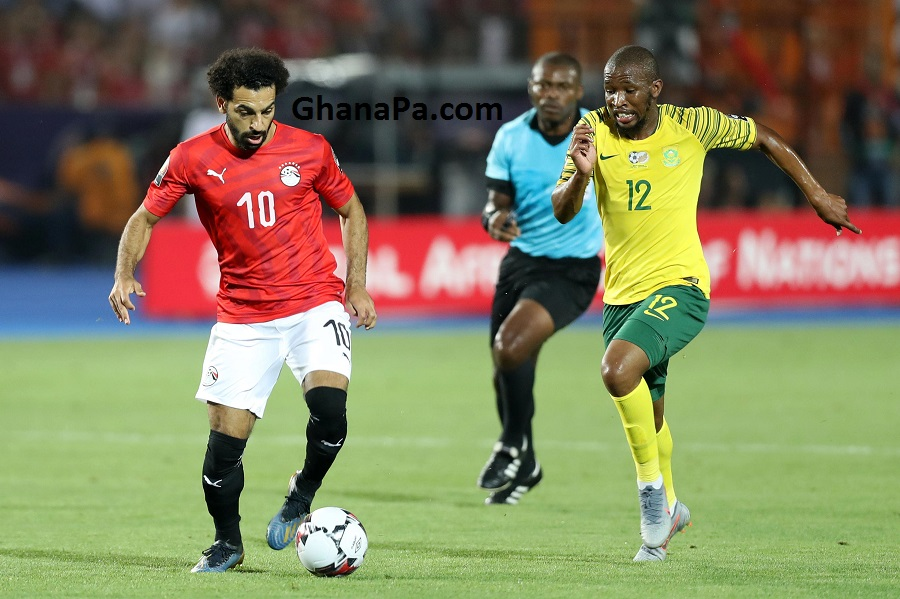 Mohamed Salah of Egypt challenged by Kamohelo Mokotjo of South Africa during the 2019 Africa Cup of Nations