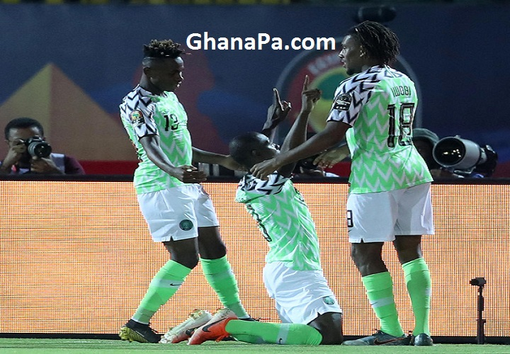 Odion Jude Ighalo of Nigeria celebrates goal with teammates during the 2019 Africa Cup of Nations Finals, 3rd and 4th place match between Tunisia and Nigeria at Al Salam Stadium, Cairo, Egypt.