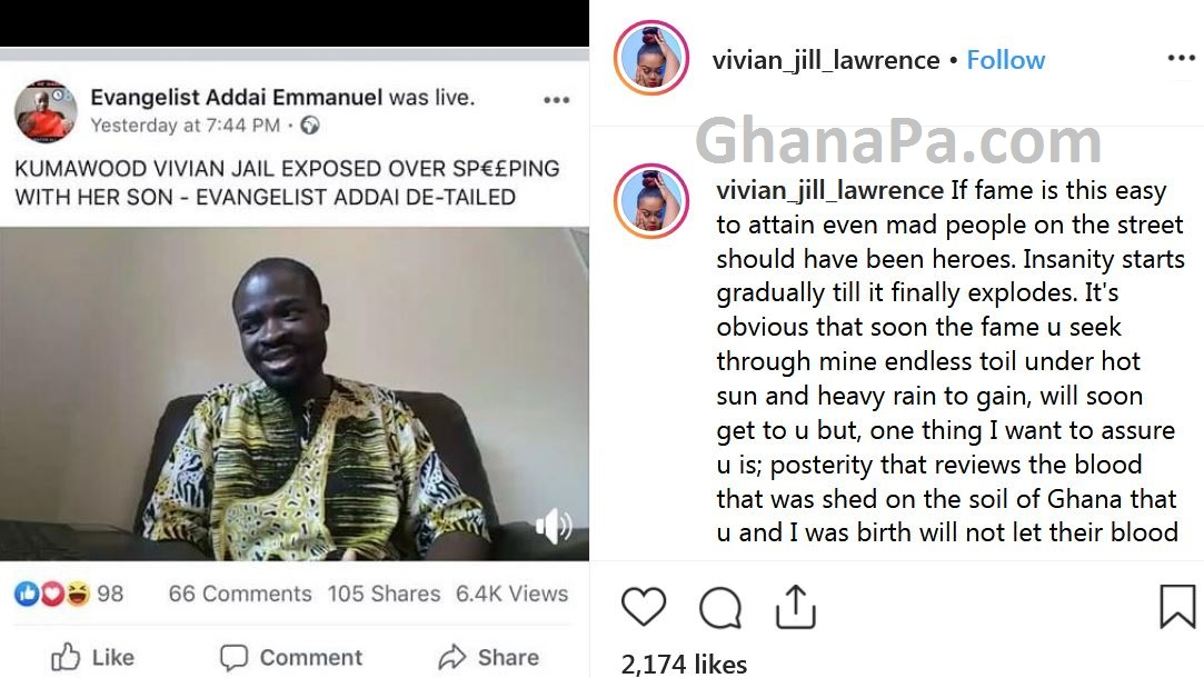 Kumawood Actress Vivian Jill reacts to sleeping with her son allegation from Evangelist Addai & rained curses on him
